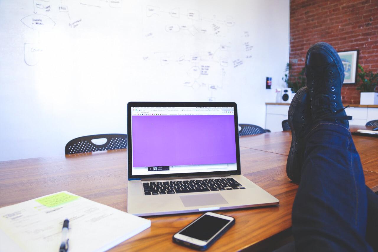 A desk at ThinkShore Media