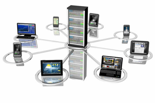 web hosting server with table phone an laptop